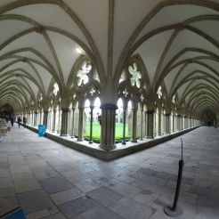 Once inside the walls of the Cathedral, it opens to a courtyard surrounded by these hallways (this is at a corner)