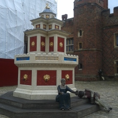in the courtyard of Hampton Court