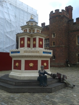 in the courtyard of Hampton Court