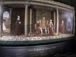 Henry VIII with his son Edward, and long dead, at this point, favorite wife Jane Seymour. with Mary and Elizabeth to their right and left