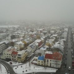 View from the top of Hallgrímskirkja Sunna Guesthouse on the bottom left corner - white building