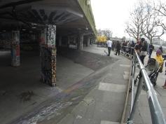 Skate park nestled along the River Thames
