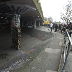 Skate park nestled along the River Thames