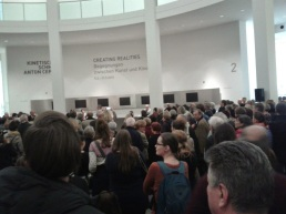awaiting the opening for the Anton Cepka's kenetic jewellery show at Pinakothek